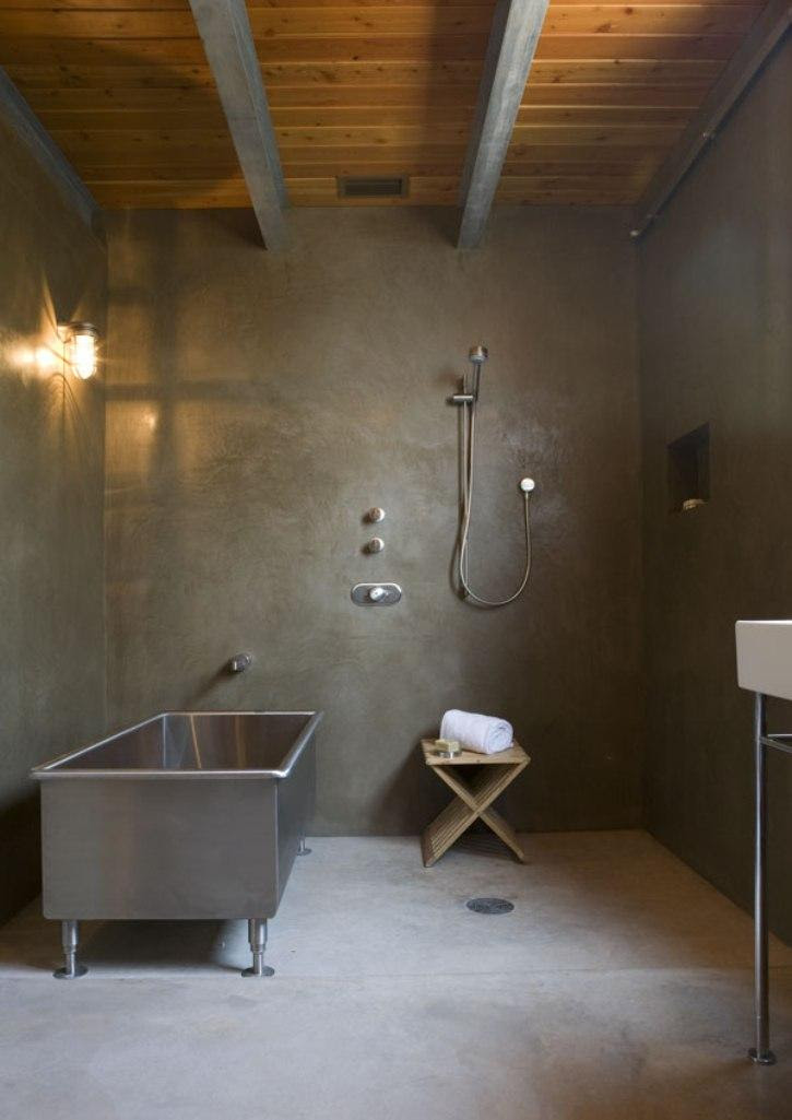 bold bathroom with concrete wall