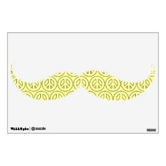 Yellow Peace Sign Mustache Wall Decal