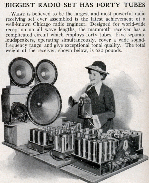 tube-radio: BIGGEST RADIO SET HAS FORTY TUBES (Jun, 1936) What is believed to be the largest and most powerful radio receiving set ever assembled is the latest achievement of a well-known Chicago radio engineer. Designed for world-wide reception on all wave lengths, the mammoth receiver has a complicated circuit which employs forty tubes. Five separate loudspeakers, operating simultaneously, cover a wide sound-frequency range, and give exceptional tonal quality. The total weight of the receiver, shown below, is 620 pounds.Source: Modern Mechanix   Fascinating!
