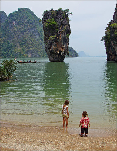 My kids on James Bond Island