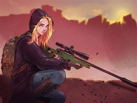 pubg sniper girl hd desktop wallpaper background
