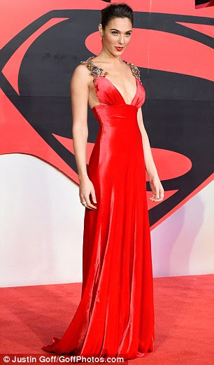 Ben and his bevy: Gal Gadot (left) and Amy Adams outshone leading Batman v Superman star Ben Affleck as the pair led the glamour at the film's European premiere in London on Tuesday night
