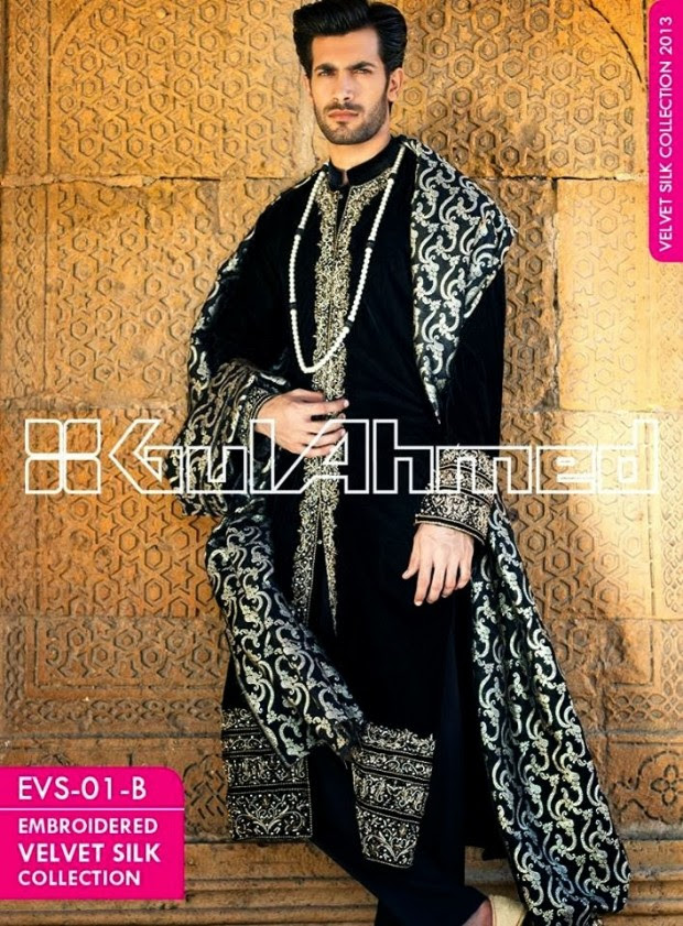 Mens-Women-Wear-Beautiful-Embroidered-Silk-Velvet-Long-Coats-by-Gul-Ahmed-New-Fashion-13