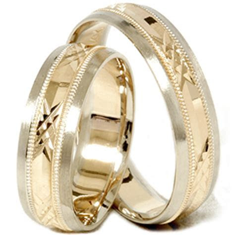 Gold Matching His Hers Swiss Cut Wedding Band Ring Set   eBay