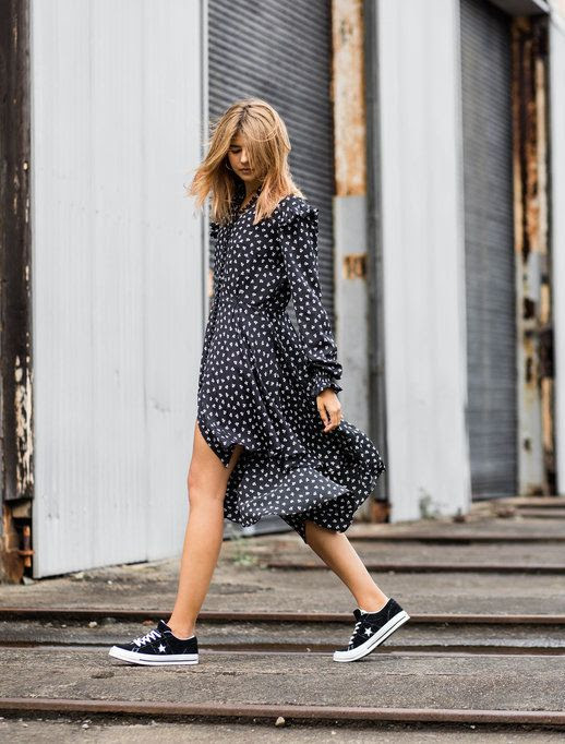 Le Fashion Blog MBFWA Printed Cold Shoulder Assymetric Dress Black Bucket Bag Black Converse Via Badlands Blog