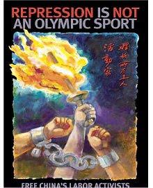 Cartaz China Olímpicos repressão