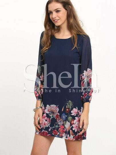 Dark Blue Lantern Sleeve Floral Shift Dress pictures