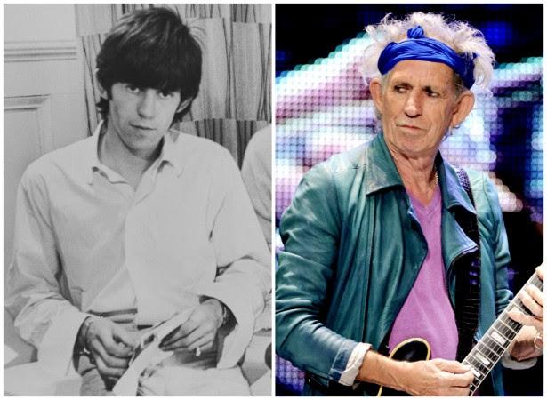 O rolling stone Keith Richards em 1963 e meio século depois, em maio de 2013. (Foto: Getty Images)