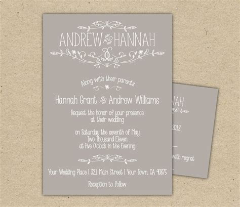 Vintage Wedding Invitation and RSVP P R I N T E by