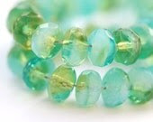 Czech beads Ocean green blue bead mix, glass spacers, rondels - 4x7mm - 25Pc - 288 - MayaHoney