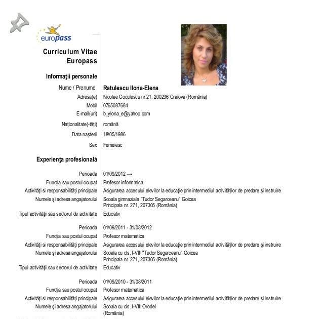 curriculum vitae  curriculum vitae europass in romana