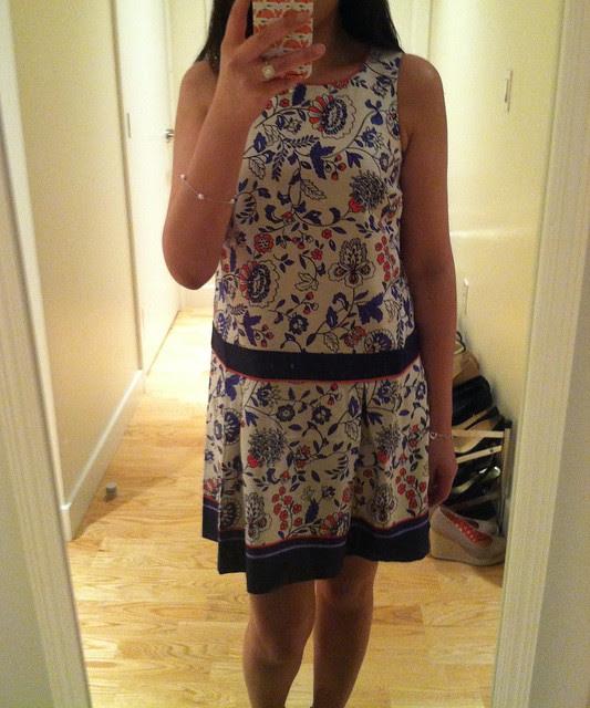 LOFT Climbing Floral Print Drop Waist Dress, sz 00P