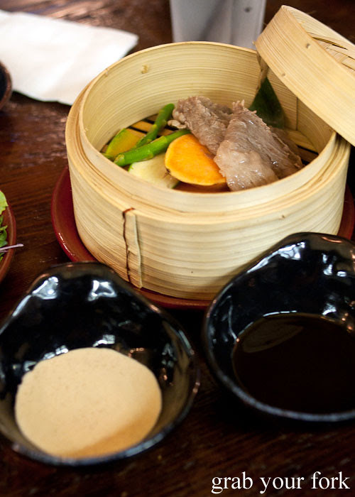steamed wagyu and vegetables at yebisu izakaya, regent place sydney