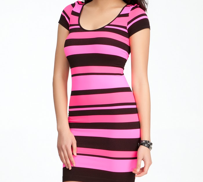 d4f59ed197 bebe - Banded Striped Bodycon Dress - Online Exclusive - Neon Pink/Black -  P/S - New Product