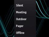 Profiles menu and Calendar