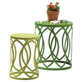Set of two indoor/outdoor nesting tables with latticework bases.