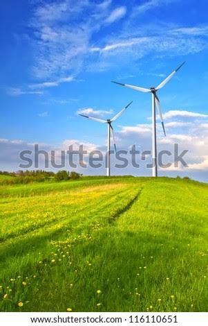 Mountain wind turbine - stock photo