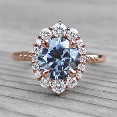 Dark Grey Moissanite Engagement Ring with Diamond Halo (1