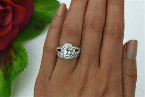 3 Ctw Split Shank Wedding Set, Oval Engagement Ring, Halo