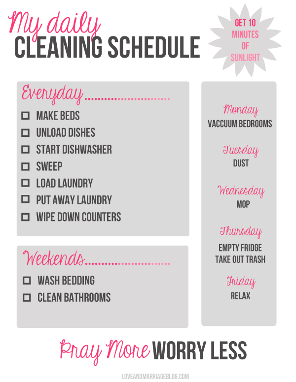 My Daily Cleaning Schedule {a free printable} - Love and Marriage