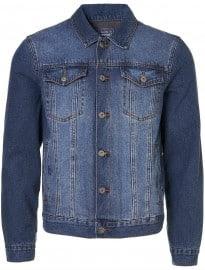 Topman Mid Wash Lined Denim Western Jacket