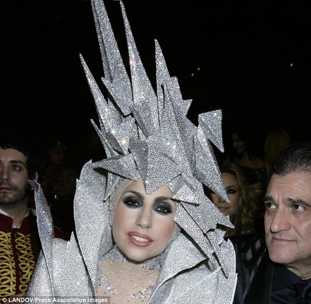 Ice cool: Lady Gaga's strikingly spiky outfit was recreated by Max the dog