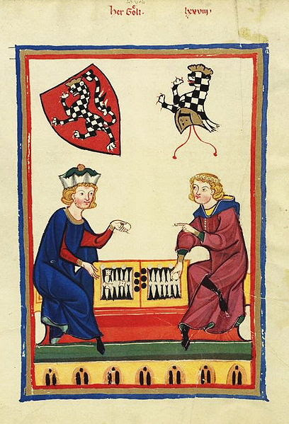 backgammon game in medieval manuscript