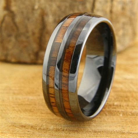 Barrel Ceramic Koa Wood Ring in 2019   Wedding   Wedding