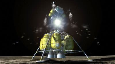 The LSAM's ascent stage blasts off into space after the astronauts' sojourn on the lunar surface.