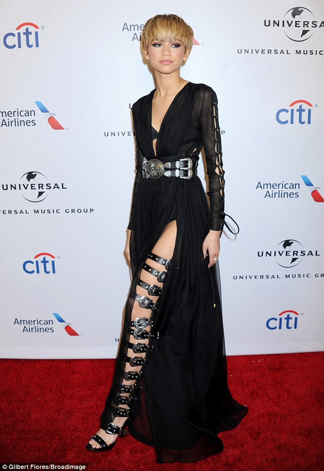 Belted up: Zendaya rocked a super-sexy ensemble as she led the stars at the Universal Music Group 2016 Grammy After Party presented by American Airlines and Citi in Los Angeles on Sunday night