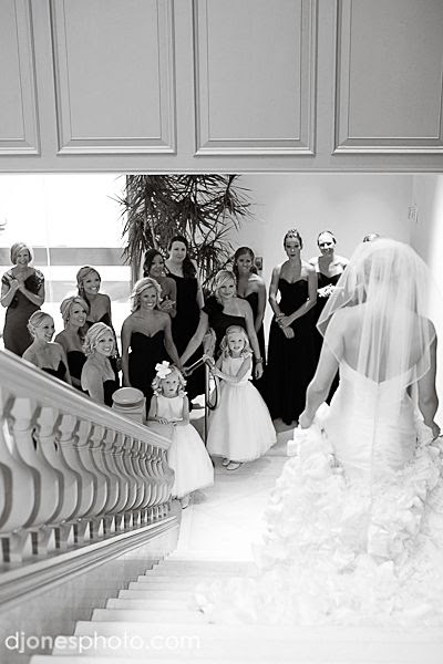 "Previous Pinner Wrote, ""Bridal Party Photo - love this shot of the bridal party's reaction to the bride, fully dressed and ready, coming down stairs."""