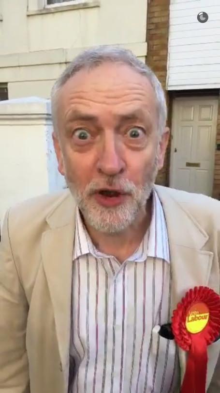 Jeremy Corbyn wears Labour Rosette