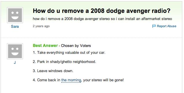 How do u remove a 2008 dodge avenger radio
