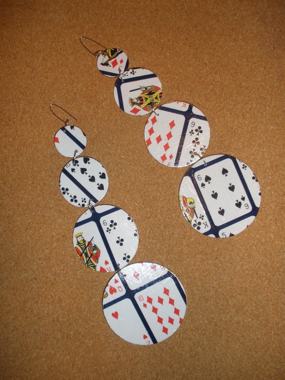 Unique Long Dangling Vintage Game Board Earrings, Embellish with Playing Card Print, Ladies Earrings, Women Earrings, Round Earrings