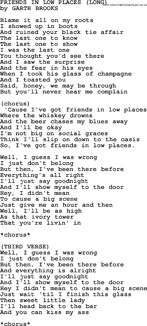 Friends In Low Places Lyrics 3rd Verse