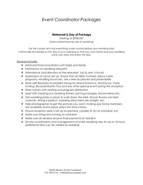Event Coordinator Packages
