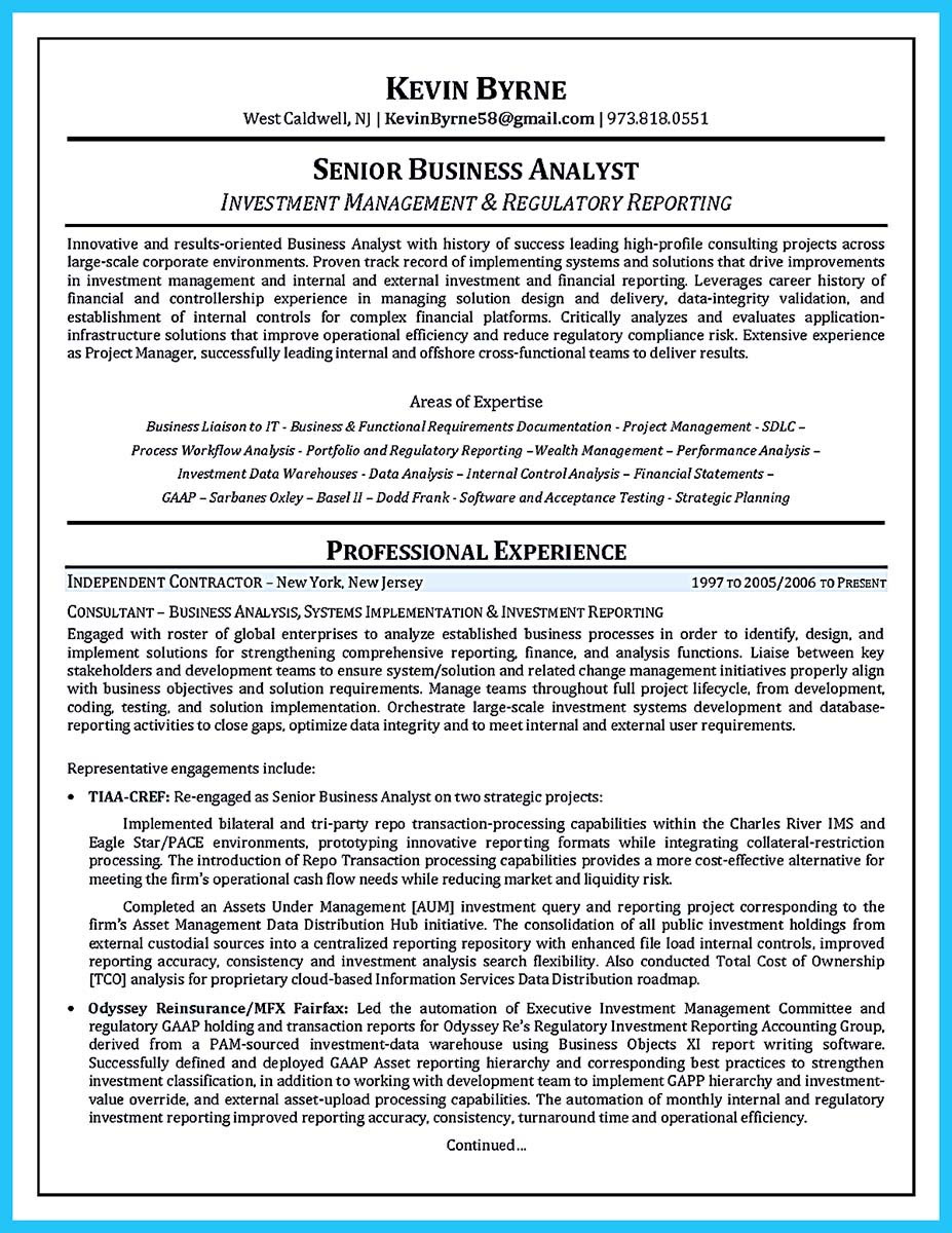 agile business analyst resume sample