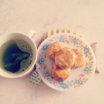 Green tea + Tau Sa Piah that mom bought for me. ^^ #tea  (Taken with Instagram)