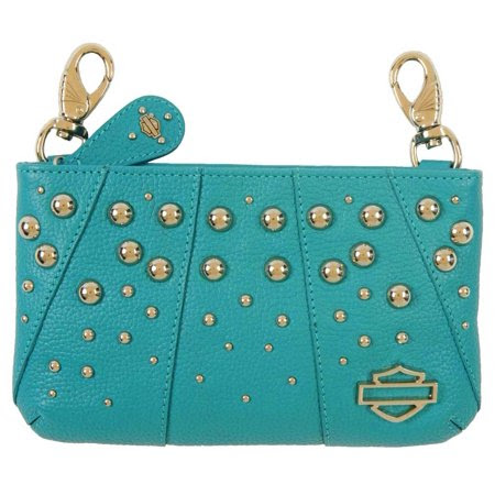 Harley-Davidson Women's Bar & Shield Dome Studded Leather HipBag, RD9000L-TEAL