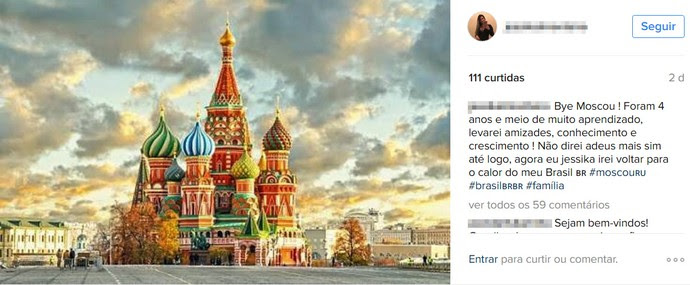Bye Moscou (Foto: Reprodução/Instagram)