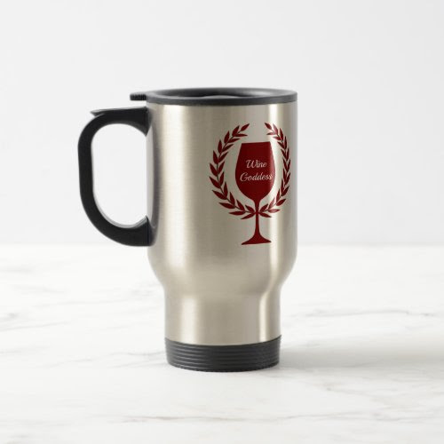 Wine Goddess Red Wine Glass and Wreath Accent 15-oz Stainless Steel Travel Mug