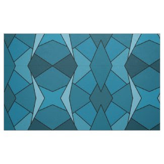 Geometric Abstract Teal Polygons Fabric