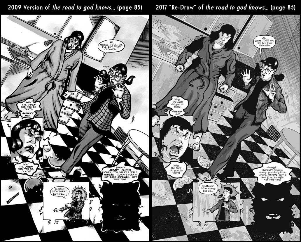 Comparison between page 85 from the 2009 published version of the road to god knows... and the 2017 redrawn version by Von Allan