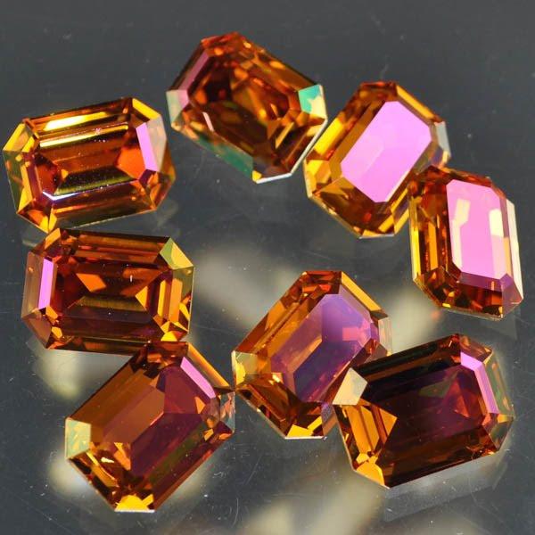 s33470 Swarovski Fancy Rhinestones - 13 x 18 mm Faceted Stepped Rectangle Cut (4610) - Crystal Summer Blush (1)