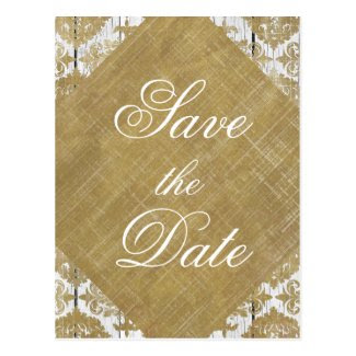 Save the Date Vintage Gold Damask and Wood Post Card