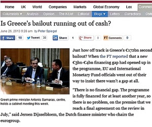 FT: «Ξεμένει από χρήματα η ελληνική διάσωση;»