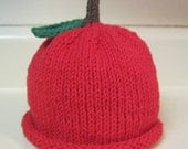 Hand Knitted Red Apple Hat