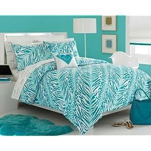 Dorm Bedding Roxy Aqua Teal Zebra Teen Girls Comforter