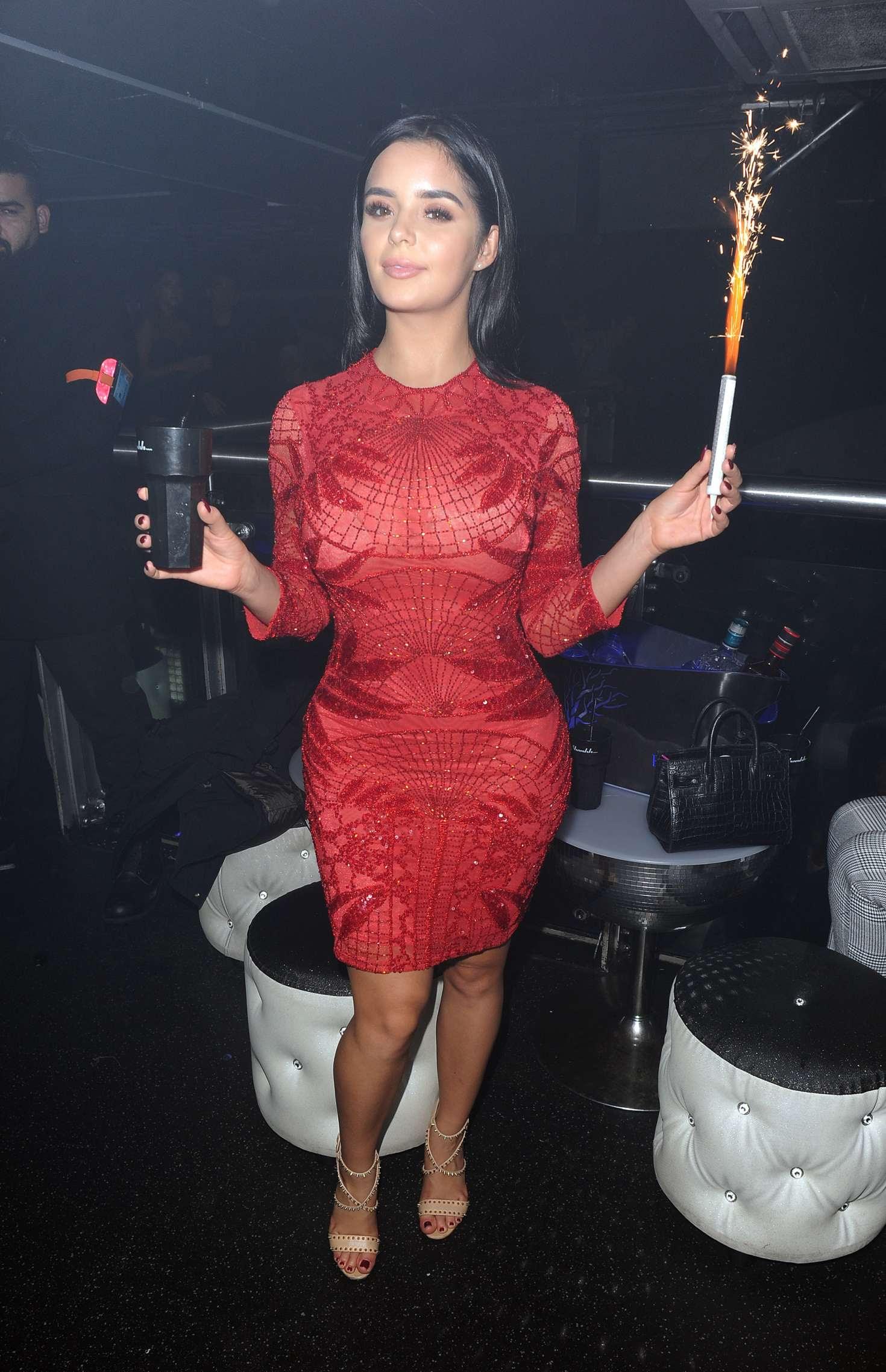 Demi Rose in Red Dress at Shooshh nightclub in Brighton