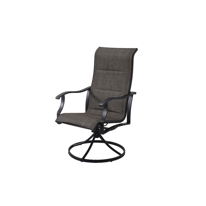 Style Selections Skytop Set Of 2 Black Metal Swivel Dining Chair S With Gray Sling Seat In The Patio Chairs Department At Lowes Com